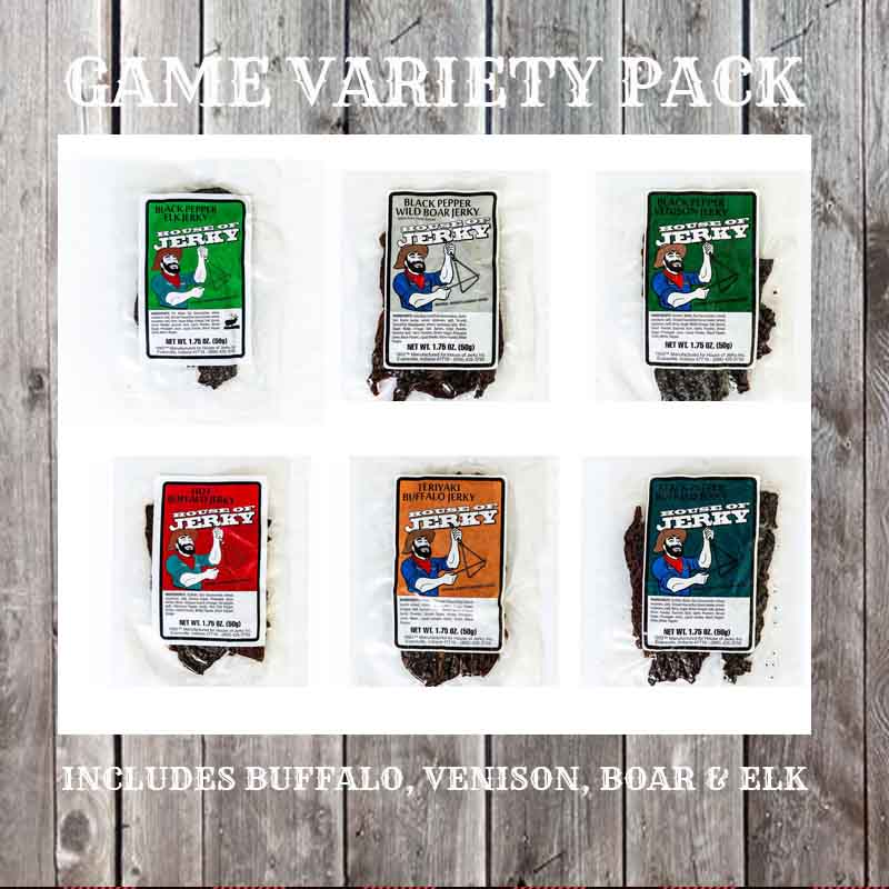 6 bags of jerky on a wooden background with the words Game Variety Pack on top and Includes buffalo, venison, boar & elk on the bottom