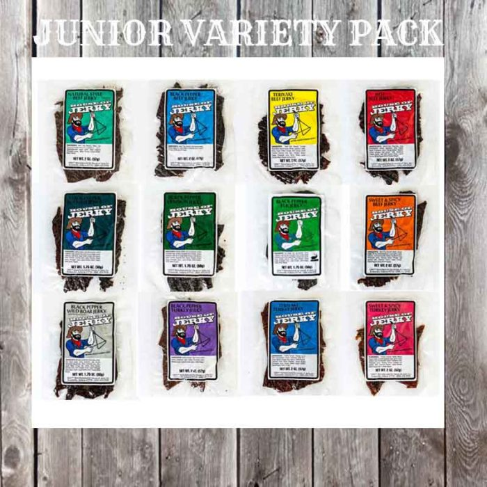12 bags of Jerky on a wooden background with the words Junior Variety Pack on the top