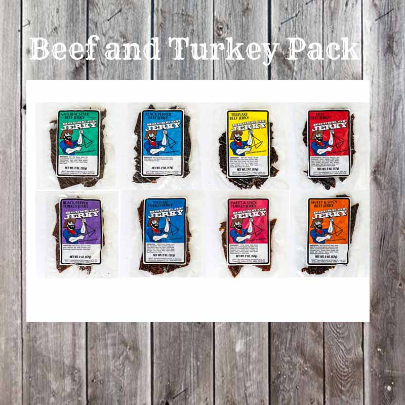 8 flavors of jerky on a wooden background with the words Beef and Turkey Pack