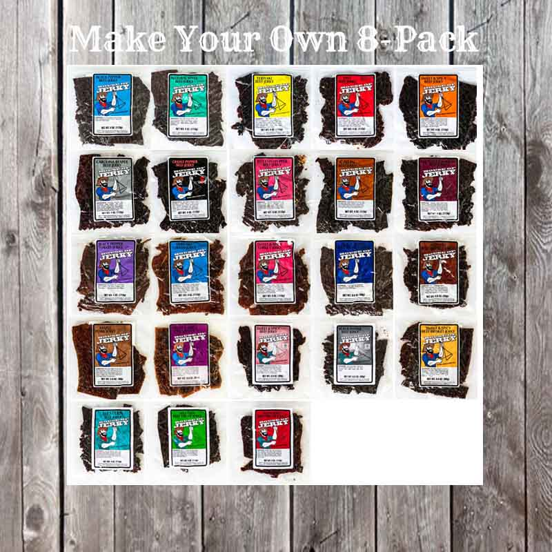 23 bags of jerky on a wooden background with the words Make Your Own 8-pack at the top