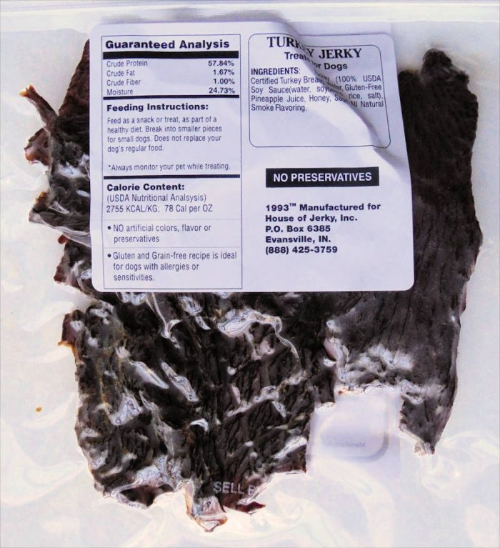 Dog Jerky - Turkey label