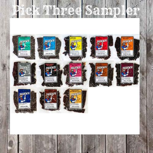 13 bags of jerky on a wooden background with the words PIck Three Sampler at the top