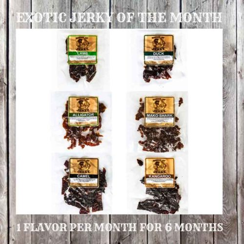 6 bags of jerky on a wooden background with the words exotic Jerky of the Month on the top and 1 flavor per month for 6 months on the bottom