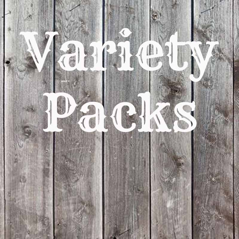 the word variety packs on wood background