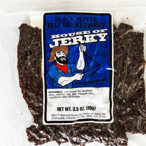 a bag of black pepper beef brisket jerky