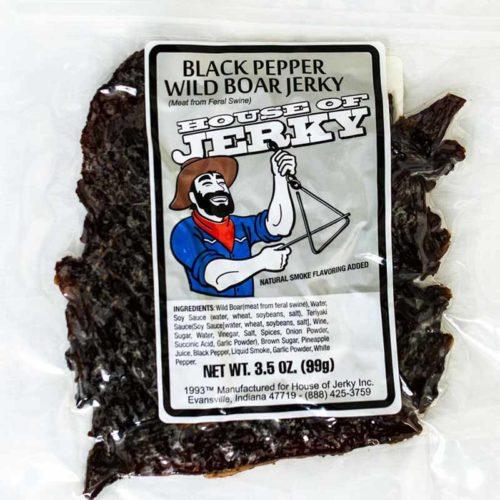 bag of black pepper wild boar jerky