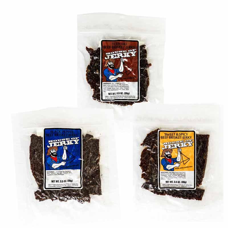 bag of teriyaki beef brisket jerky, black pepper beef brisket jerky and sweet & spicy beef brisket jerky