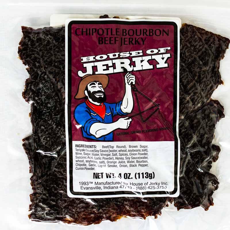 bag of chipotle bourbon beef jerky