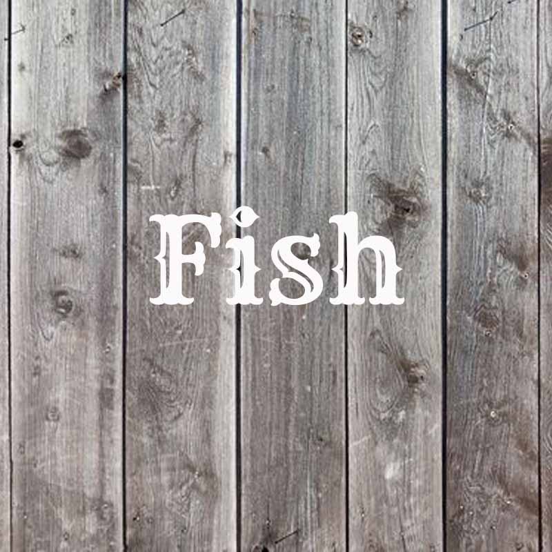 the word fish on a wood background