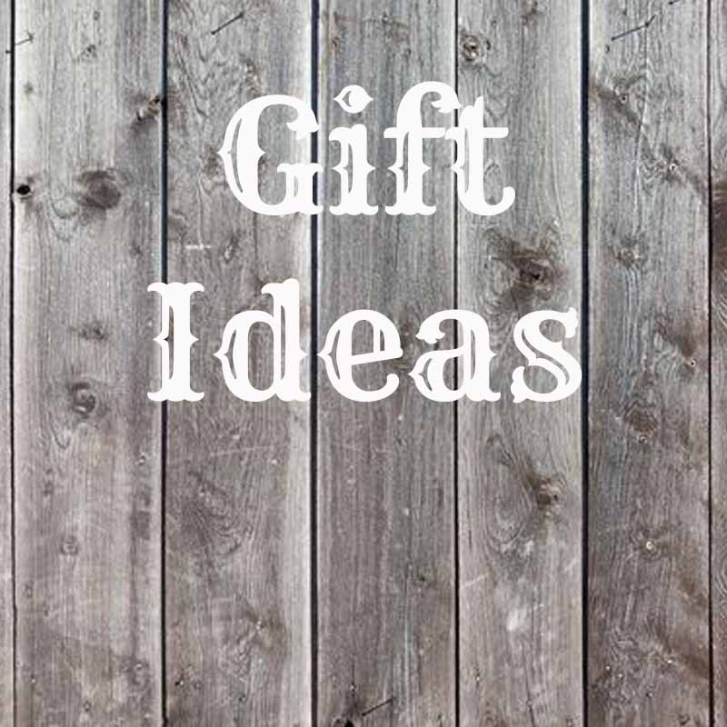 the words gift ideas on a wood background