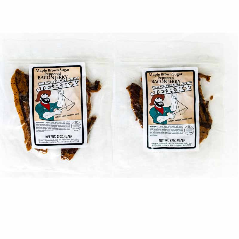 two bags of maple brown sugar peppered bacon jerky