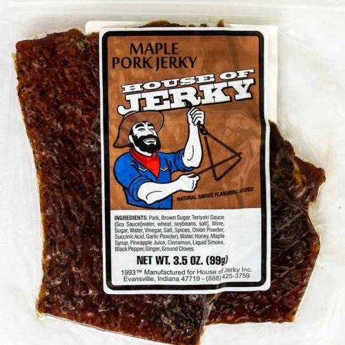 bag of maple pork jerky