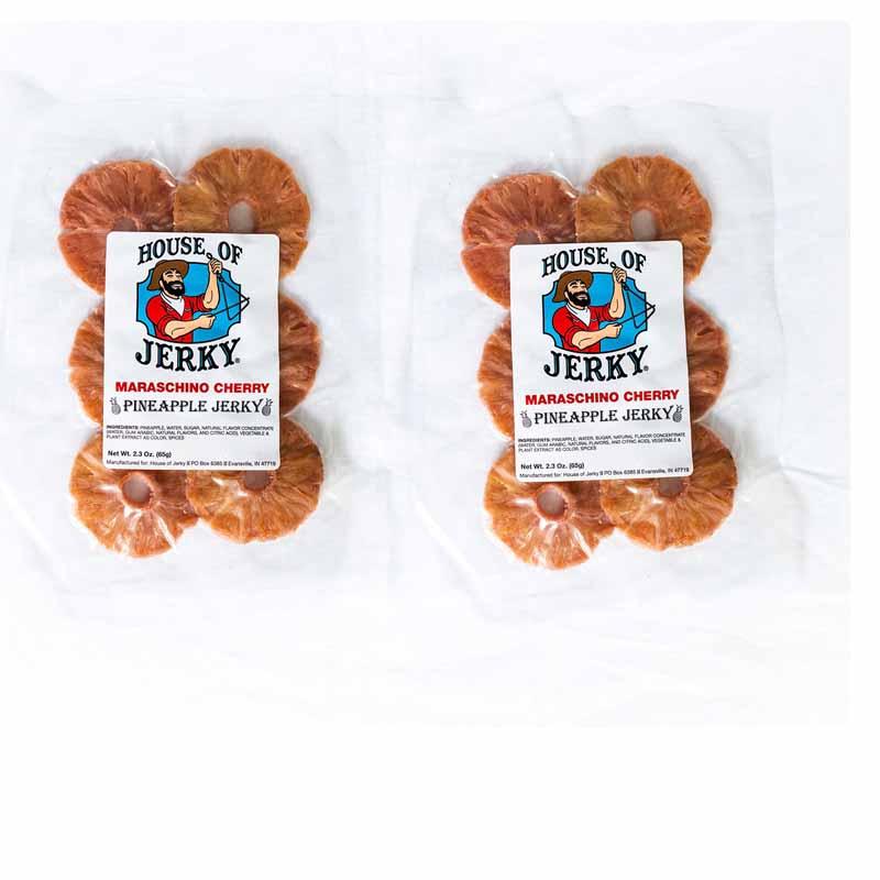 two bags of maraschino cherry pineapple jerky
