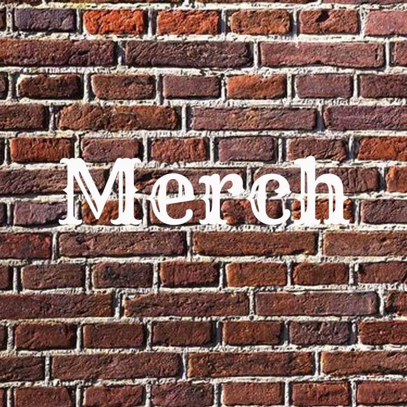 the word merch on brick background