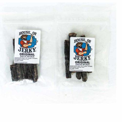 two bags of original droewors jerky