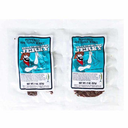 two bags of peppered ahi tuna jerky