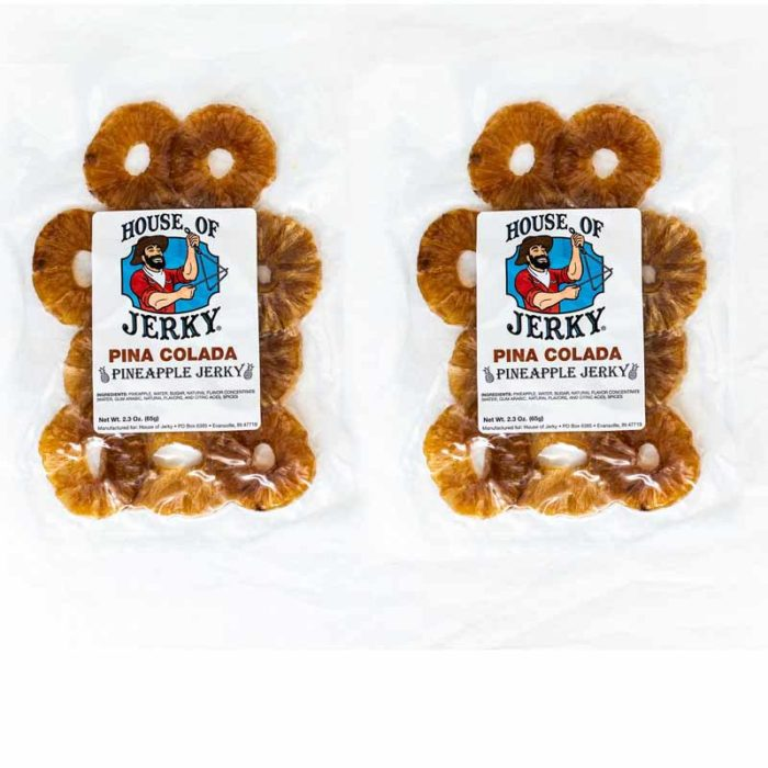 two bags of pina colada pineapple jerky