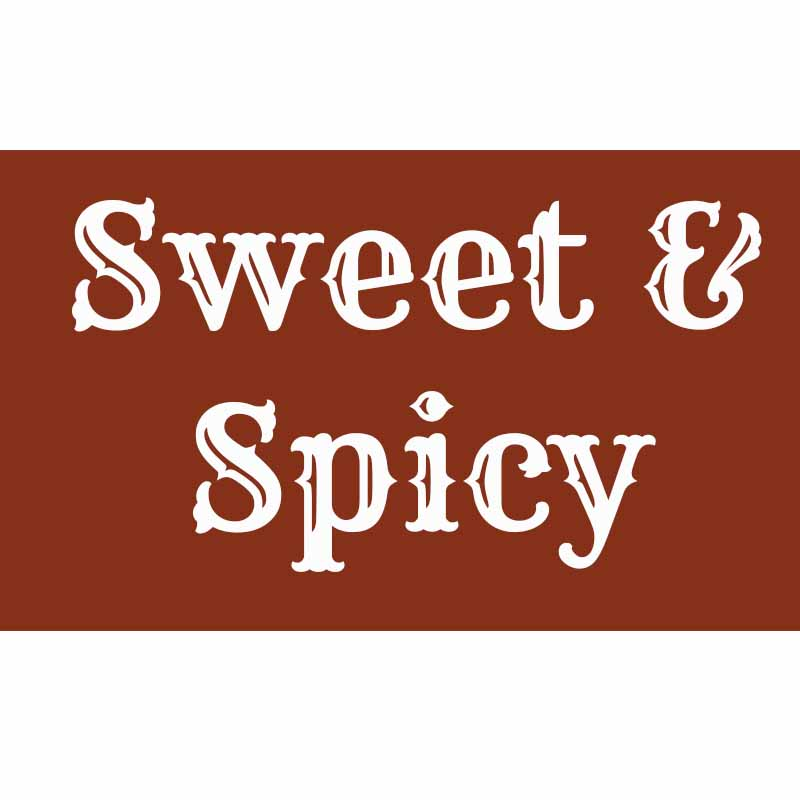 the word sweet & spicy on a brown background