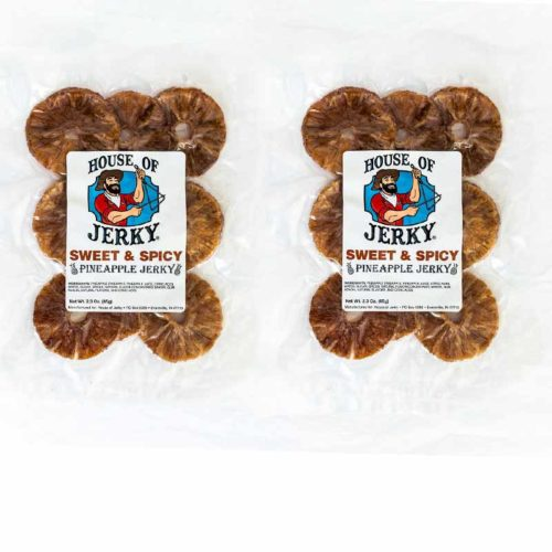 two bags of sweet & spicy pineapple jerky