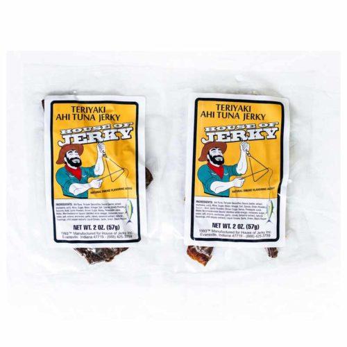 two bags of teriyaki ahi tuna jerky