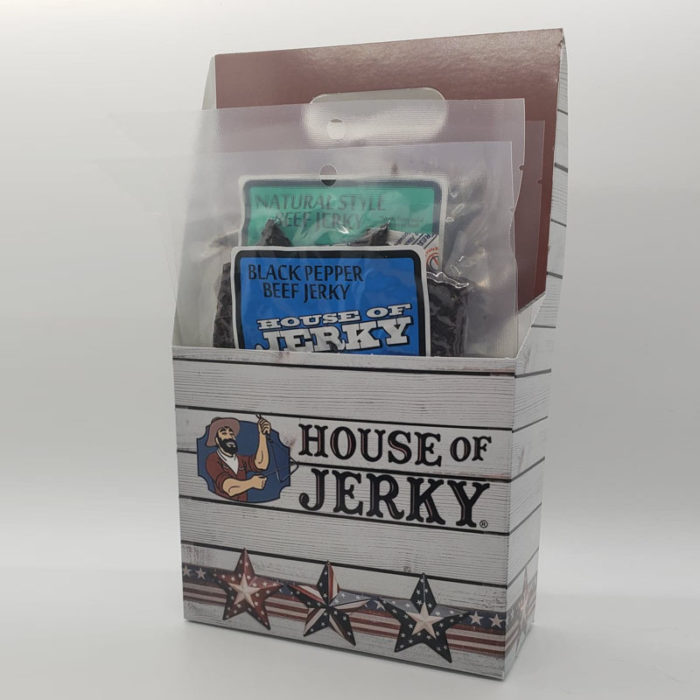 House of Jerky six-pack holder with black pepper beef jerky and natural style beef jerky inside
