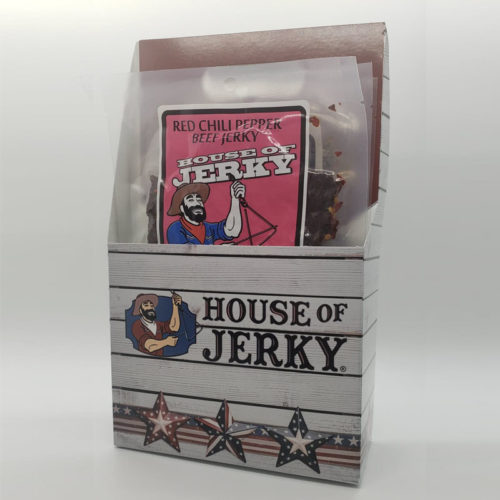 House of Jerky six pack holder with red chili pepper beef jerky inside