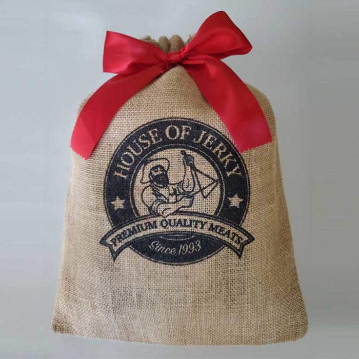 House of Jerky burlap gift bag